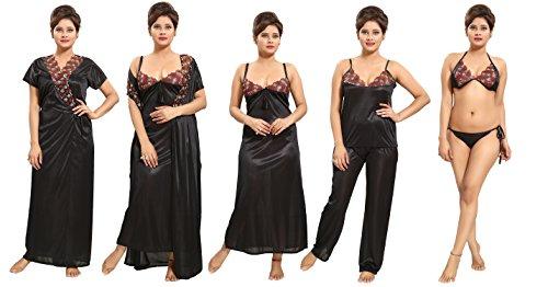 Paridhan Women\'s Satin Nightwear Set of 6 Pcs Nighty, Wrap Gown, Top, Pyjama, Bra & Thong (Black) D.No.1185