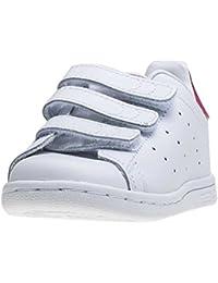 Adidas - originales de Stan Smith texto en inglés y zapatillas de niño blanco/en negrilla color rosa Blanco blanco Talla:Kids 08