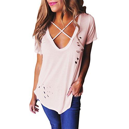 Femmes Mode col V à manches courtes Trous de couleur solides en vrac T-shirt décontracté Top Rose