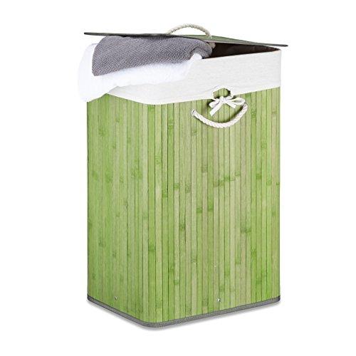 Wäschekorb Bambus H x B x T: ca. 65,5 x 43,5 x 33,5 cm faltbare Wäschetruhe rechteckig mit einem Fassungsvolumen von 83 L mit Wäschesack aus Baumwolle zum Herausnehmen als Wäschepuff, grün