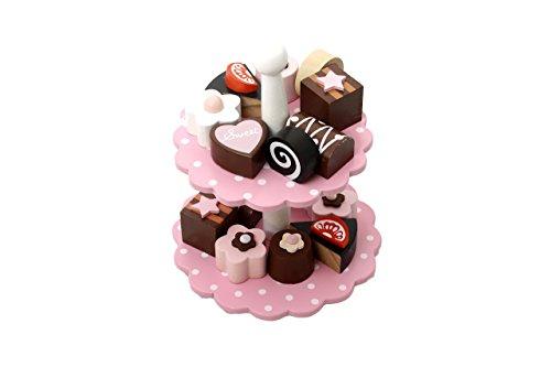 Preisvergleich Produktbild Magni Kuchen-Etagere mit 12 Leckereien Kuchen Pralinen Törtchen aus Holz