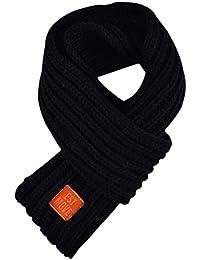 Demarkt 1 pcs Tricot écharpe Enfants Mignon Couleur unie Scarf Chaud Hiver Foulard pour Garçons Filles 110cm Noir