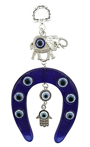 Mehrunnisa Turkish Evil Eye Horseshoe Elephant & Hamsa Hand Goodluck Charm Hanging...