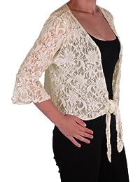 Eyecatch Übergrößen 36 - 54 - Darcey Damen Pailletten Cardi Tie Shrug Lace Strickjäckchen Bolero Top Frauen Plus Size
