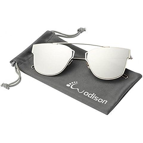 WODISON Frame la calle para mujer gafas de sol de moda de metal reflectante lentes de espejo gafas de sol