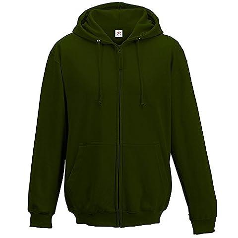 Forest grün Unisex Kapuzenpullover mit Reißverschluss Plus 1Gratis T Shirt mit Hoodie Zip Up Jacke Gr. XXL, Grün - Waldgrün