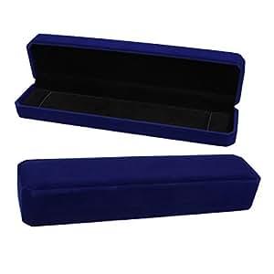 1 Boite a Bijoux Coffret de Rangement Collier Cadeau Bleu Marine 22.5x5.3cm