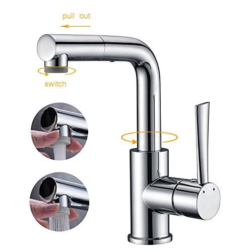 Wasserhahn Armatur Bad 2 Strahlarten mit ausziehbarem Brause, CREA Klein Küche Waschbecken Mischbatterie,Magnetisches Docking Spültischbatterie, Wasserhahn mit herausziehbarer geschirrbrause