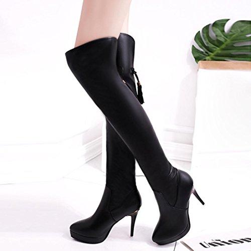 Women High-Heeled Boots Tassel Shoes, SOMESUN Donne Tacchi Alti Stivali Alti Al Ginocchio Impermeabili Sopra Il Ginocchio Nappa Alta Boots Black