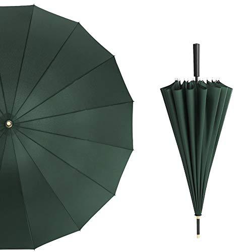 L.Z.HHZL Griff Regenschirm Golf Regenschirm Extra Large Übergroßes Doppel-Baldachin Regenschirm Winddicht Wasserdicht für Männer und Frauen (Color : Grün, Size : Kostenlos)