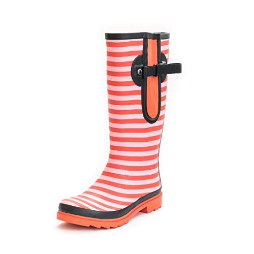 cb1ae8abf The Wide Welly Company Stunningly Stripy Ladies Adjustable Calf Wellies  (max 52cm)