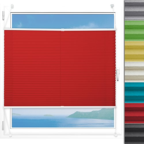Plissee Rollo Magic | moderner Sichtschutz mit Crushed Optik | Fensterrollo mit Klemmfix ohne Bohren | Klemmrollo Größen (Rot - 65 cm breit und 200 cm lang)