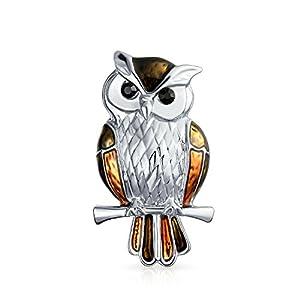 Bling Jewelry Golden Braun Emaille Eule Vogel Auf Zweig Broschen & Anstecknadeln Für Damen Versilberte Legierung