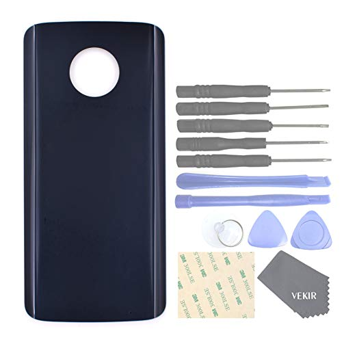 Deep Indigo (VEKIR Glass Back Cover Replacement with Adhesive Tape for Motorola Moto G6 Plus XT1926(Deep Indigo))