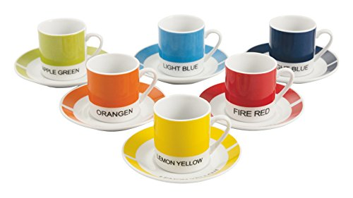 Galileo Casa Colors Set de 6 Tasses à Café, Porcelaine, Multicolore, 12 unités