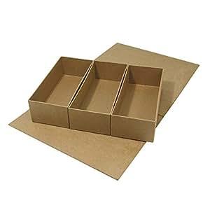Rayher Hobby  7135900Papier mâché Cache boîte de rangement 29 5x 22x 6 5cm 3Parties internes vrac