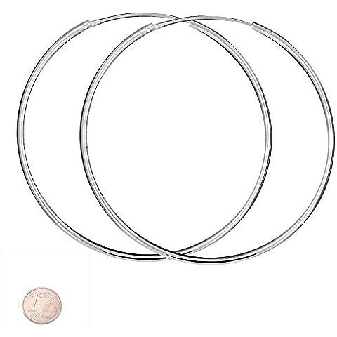Hoops orecchini 925 orecchini d'argento Taglia reale d'argento: 70 millimetri