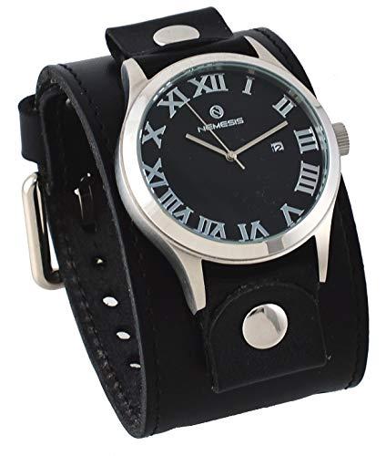 Nemesis LBB259K Men's Pointium Wide Black Leather Cuff Band Black Roman Dial Watch