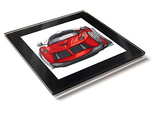 Koolart Cartoon Auto Ferrari Ferrari LaFerrari Glas Tisch Untersetzer mit Geschenk-Box, rot, 10cm x 10cm -