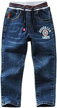 LAPLBEKE Jeans Bambino Elasticizzata Denim Pantaloni Ragazzi Casual Primavera e Autunno Blu Pants