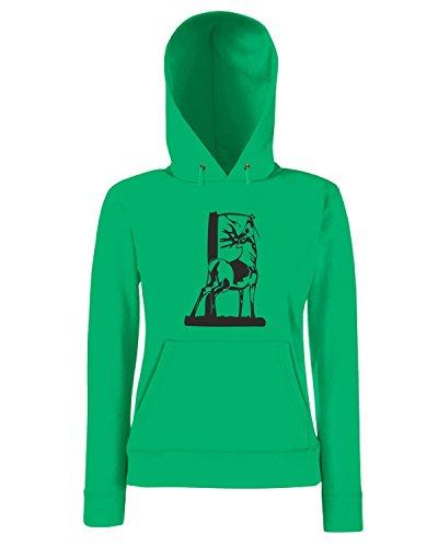 T-Shirtshock - Sweatshirt a capuche Femme FUN1170 deer head 06 94289 Vert