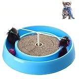 GYWDGS Katze Plattenteller Rundes Wellpapier Spielzeug, Interaktives Spielzeug Lustiges Katzenspielzeug (Pink + Blau),Blue