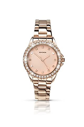 Sekonda Women's Quartz Watch with Rose Gold Dial Analogue Display and Rose Gold Alloy Bracelet