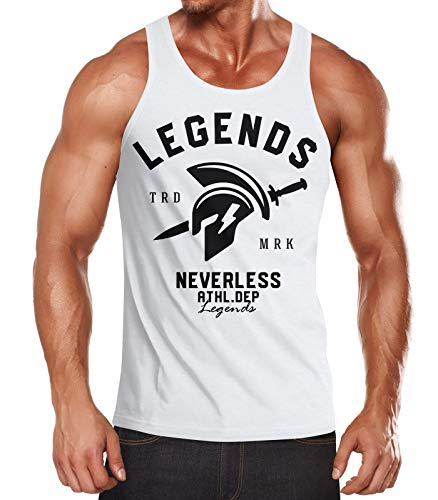 Sparta Tank (Neverless Cooles Herren Tank-Top Gladiator Sparta Gym Athletics Sport Fitness Muskelshirt Muscle Shirt weiß M)