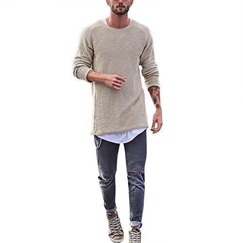 KPILP Sweatshirts Herren Pullover Slim Fit Warm Rundhalsausschnitt Lässige Langarm Basic Shirt Tops Herbst Winter(Beige,EU-60/CN-XL)