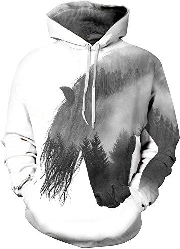 Bettydom Femme Sweat à Capuche Imprimé Créatif Unisexe Pull Manches Longues Décontracté Sportif 1-Cheval