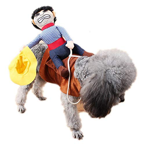 TECHSON Pet Funny Costume, Dog Cat Cowboy Rider Style Suit for Santa Christmas Party Outfit Clothing (L, Cowboy Rider)