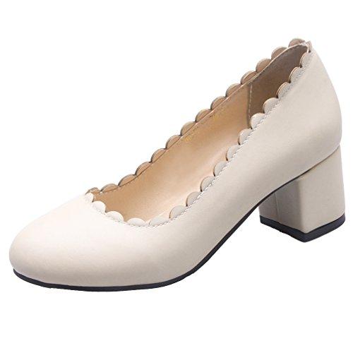 YE Damen Geschlossene Chunky Heel Pumps mit 5cm Absatz Blockabsatz Pumps Schuhe Beige