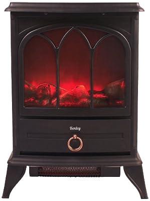 Kenley hff-03b Elektro Kamin Heizung mit Holzofen Effekt, Heizkörper mit Thermostat, 1000 W/2000 W von Kenley - Heizstrahler Onlineshop