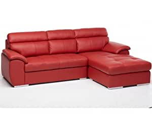 Canapé d'angle en cuir MARIANI - Rouge - Angle droit
