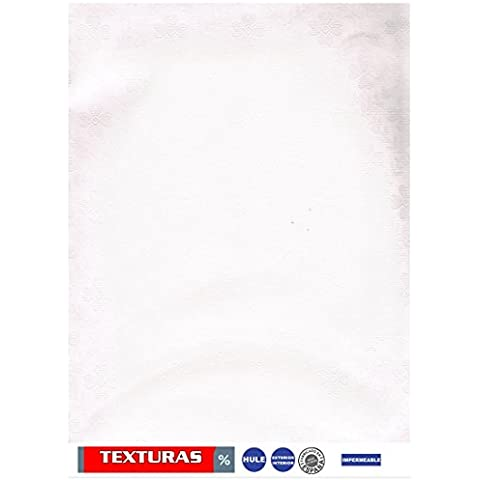 TEXTURAS HOME Mantel de Hule RECTANGULAR 200X140 cms con Ribete DAMASCO CRUDO WATERPROOF TISCHDECKE