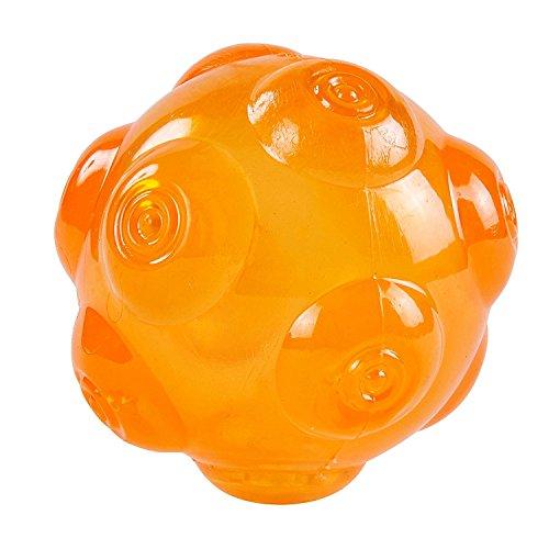 PETTOM Louvra Hundespielzeug Hundeball aus Kautschuk Wasserdicht Federnd Springend Quietschgeräusch mit lautem Ton für Hunde im Freien Lauftraining Schwimmen (Orange/Gelb/Grün/Blau)