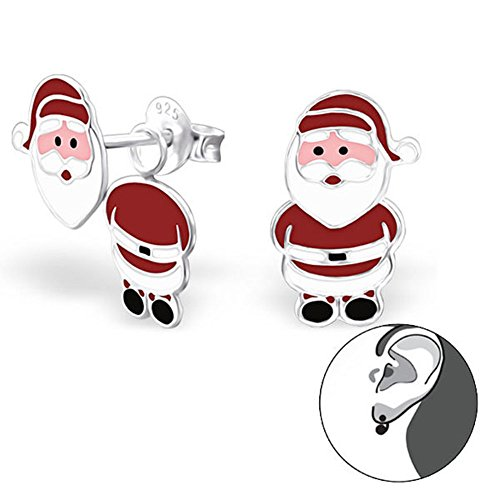 s-mann Ohrringe fuer Weihnachten von Monkimau, Kinder-Schmuck, Sterling Silber, Damen, Frauen, Mädchen-Ohrstecker (Silber) (Machen Fake Bart Kostüm)