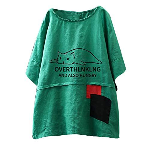 Tank T-Shirt Sommer Gepunktet Druck Vintage Cap Kurzarm V-Ausschnitt Half-Button Top ()