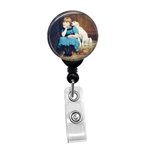 Brite Riviere Mitgefühl-Mädchen in Blau, Kleid mit Hund Retractable Badge Reel-ID Namensschild Custom Badge Holder Black Badge Reel with Belt Slide Clip