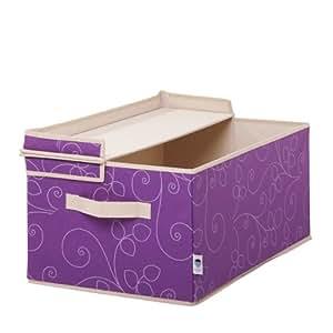 store it 754587 aufbewahrungsbox mit klappdeckel 55 x 35 x 24 cm lila mit floralem dekor. Black Bedroom Furniture Sets. Home Design Ideas