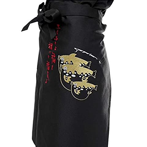 Japanese Style Embroidered Aprons Chef Waist Apron Server Apron Commercial Restaurant Aprons, B