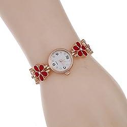 SSITG Women's Fashion Bracelet Watch Rhinestones Daisy Flowers Necklace Rose Gold Bracelet Watch Gift Watch