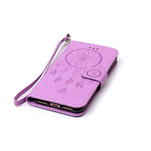 iPhone 7 4.7 Pollice PU Pelle Sbalzato Caso (con Gratuito Proteggi Schermo) KaseHom Rosa Fiore Farfalla Modello ProgettareSbalzatoStile del libroFoglioFlip MagneticoFunzione di Chiusura Standcon Purple # 1