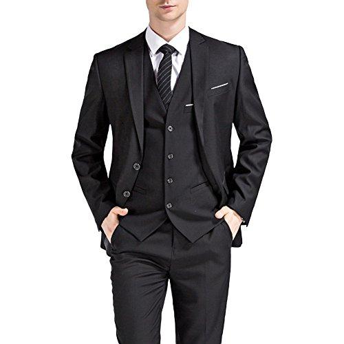 Sliktaa Herren Anzug 3 Teilig slim fit Business Hochzeit Zwei Knöpfe und Weste Hose (3 Anzug Knopf Schwarz)