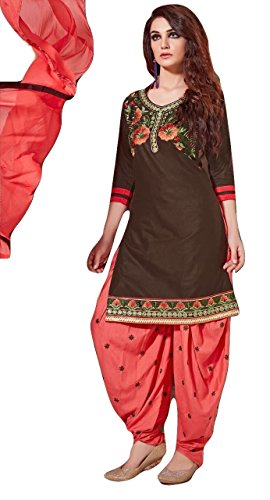 Shalibhadra coffee color top with orange color duppata and orange color salwar cotton unstitched fully heavy Embroidered work patiala suit pataliya dress material for women