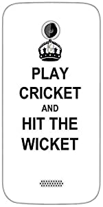 Snoogg Play Cricket and Hit Wicket White Designer Protective Back Case Cover For Micromax A116