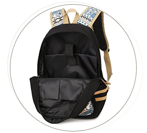 WanYang Damen/ Herren Casual Canvas Schulrucksack Damen Rucksack Daypacks Rucksack Schule/Handtasche/ Mäppchen Schwarz