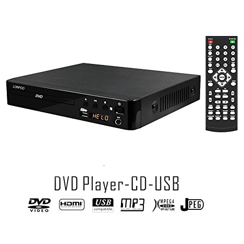 LONPOO HD DVD-Player / CD Player Region Frei ( HDMI Port, USB-Eingang, CD Ripping, Digital Display, DIVX Playback ) Schwarz