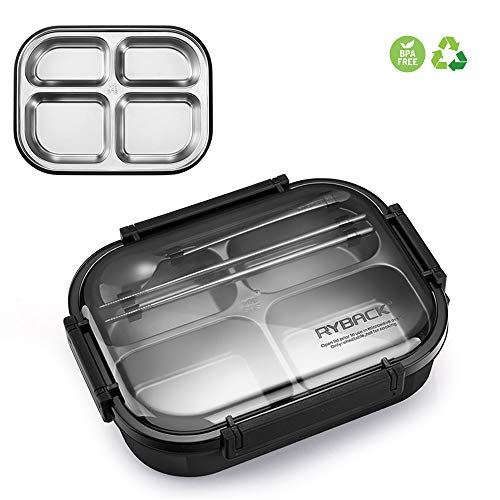 HEYIHUI Lunchbox Lunch Bento Groß Box Box Kind Edelstahl + PP ♻ Tragbare Food Box Auslaufsichere 100% BPA-frei Multifunktional 1200ml (Aluminium-lunch-boxen Kinder Für)