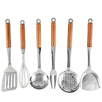 Seccuta 6-Piece Stainless Steel Kitchen Utensils Set Metal Cooking Tools